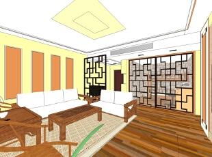 ,118平,12万,中式,两居,客厅,现代,原木色,