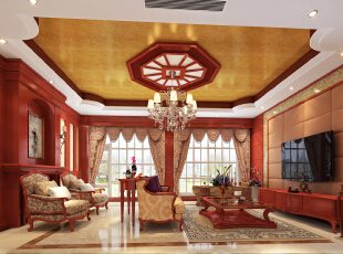 看起来很奢华,却是一个人品位与地位的象征,288平,130万,美式,四居,客厅,原木色,黄色,