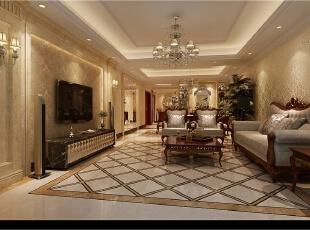 ,200平,50万,新古典,公寓,客厅,黄白,