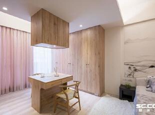 ,127平,16万,现代,三居,卧室,原木色,白色,