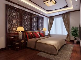 ,170平,24万,中式,三居,卧室,红木色,黄白,