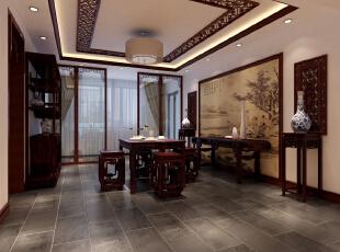 ,170平,24万,中式,三居,餐厅,红木色,白色,