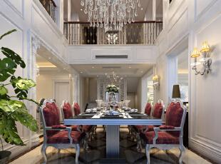 ,380平,80万,新古典,别墅,餐厅,红色,白色,