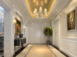 ,380平,80万,新古典,别墅,玄关,白色,