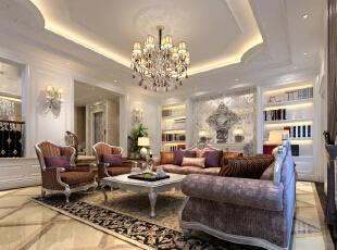 ,380平,80万,新古典,别墅,客厅,白色,