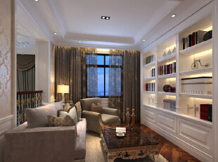 ,380平,80万,新古典,别墅,书房,白色,