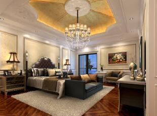 ,380平,80万,新古典,别墅,卧室,黄白,