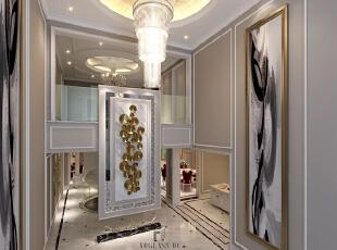 本案例为杭州尚层装饰在大华澄宫设计的美式新古典排屋别墅装修案例。整体的设计围绕着塑造舒适别致空间为中心,迎合了业主的需求,使整个空间非常和谐。,730平,300万,美式,别墅,玄关,咖啡色,白色,