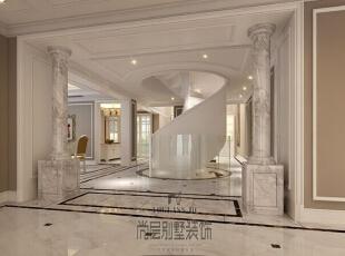 挑空的玄关和别致的旋转楼梯,使得整个空间在大的色调中独树一帜,豁然开朗。,730平,300万,美式,别墅,玄关,咖啡色,白色,