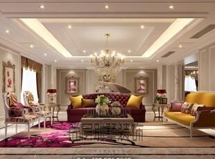 ,730平,300万,美式,别墅,客厅,深绿色,白色,