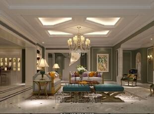 整体的室内空间整体色主要以咖啡色和生成色为主,杂糅的色调穿插到每个角落,每个空间不同色度的渐变,使整个空间充满惊喜。,730平,300万,美式,别墅,客厅,深绿色,白色,