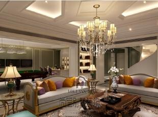 墙面装饰在许多设计师的倡导下正逐渐发展成为一种家装流行趋势。墙画虽小,其独有的艺术气质及装饰才情却能瞬间改变居室表情,为家增色不少。恰当的墙面布置能平衡居室空间,使每一件家具和饰品都融为一体,给人以浑然天成的整体美感。,730平,300万,美式,别墅,客厅,深绿色,白色,