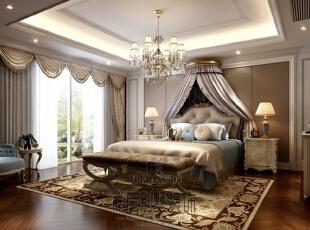 大华澄宫美式新古典主卧室,730平,300万,美式,别墅,卧室,棕色,白色,