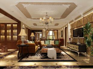 ,188平,15万,美式,四居,客厅,棕色,黄白,