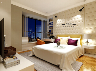 ,140平,88万,混搭,三居,卧室,米黄色,白色,