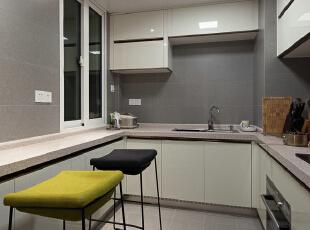 ,120平,18万,现代,三居,厨房,灰色,白色,