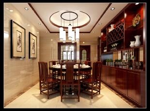 ,173平,13万,中式,四居,餐厅,红木色,