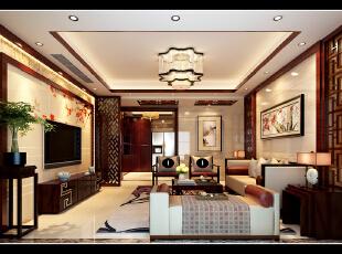 ,173平,13万,中式,四居,客厅,红木色,米黄色,