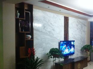 手机渣像素勿喷,电视墙山水白大理石,效果不错!,252.0平,25.0万,中式,跃层,客厅,褐色,白色,