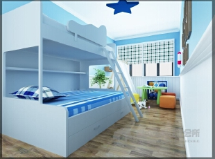 ,313平,30万,混搭,别墅,卧室,白蓝,