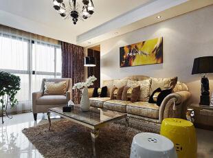 ,95平,7万,新古典,公寓,客厅,米黄色,