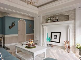 ,88平,7万,地中海,两居,客厅,白蓝,
