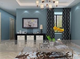 昌建誉峰装修案例86平2室2厅现代简约风格鉴赏--客厅装修效果图,86平,6万,现代,两居,客厅,黑色,白蓝,