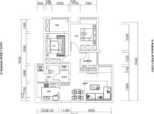 昌建誉峰装修案例户型图,86平,6万,现代,两居,