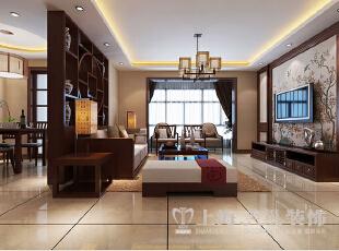 永威翡翠城装修130平三室两厅新中式案例效果图——客餐厅布局效果图,130.0平,10.0万,中式,三居,