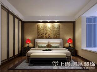 永威翡翠城装修130平三室两厅新中式效果图案例——卧室效果图,130.0平,10.0万,中式,三居,