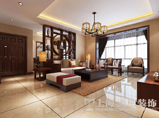 永威翡翠城装修130平三室两厅新中式案例样板间——入户门,130.0平,10.0万,中式,三居,
