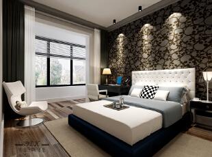 ,120平,40万,混搭,三居,卧室,棕色,褐色,白色,