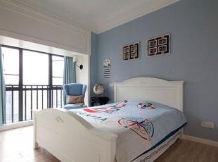 ,156平,12万,美式,公寓,卧室,淡蓝色,白色,