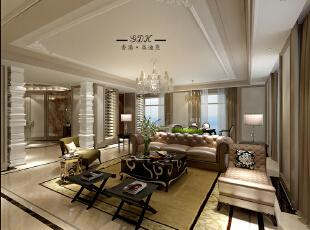 ,240平,80万,三居,新古典,客厅,黄白,