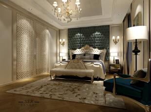 ,240平,80万,三居,新古典,卧室,黄白,深绿色,