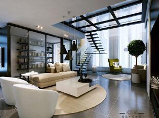 ,180平,60万,三居,现代,客厅,黑白,