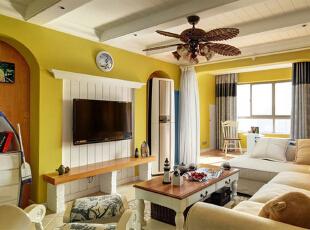 ,95平,7万,地中海,公寓,客厅,黄色,白蓝,