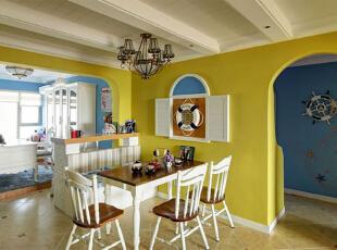 ,95平,7万,地中海,公寓,餐厅,白蓝,黄色,