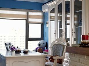 ,95平,7万,地中海,公寓,书房,白蓝,