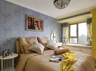 ,95平,7万,地中海,公寓,卧室,黄白,蓝色,