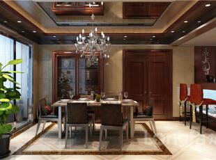 ,124平,4万,中式,四居,客厅,餐厅,原木色,