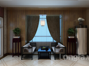 ,124平,4万,中式,四居,阳台,原木色,