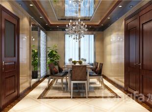,124平,4万,中式,四居,餐厅,原木色,