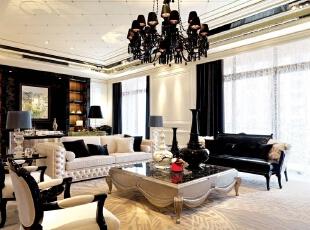 客厅:;客厅以扩大视线为主线,整体简单造型,空间开阔为主。,黑白,400平,30万,新古典,别墅,别墅装修,元洲装饰,远洋傲北,客厅,黑白,