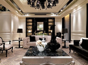 客厅:;客厅以扩大视线为主线,整体简单造型,空间开阔为主。,新古典,别墅,元洲装饰,别墅装修,别墅设计,老房装修设计,客厅,黑白,