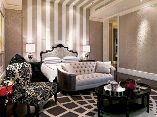 ,新古典,别墅,元洲装饰,别墅装修,别墅设计,远洋傲北,卧室,黑白,