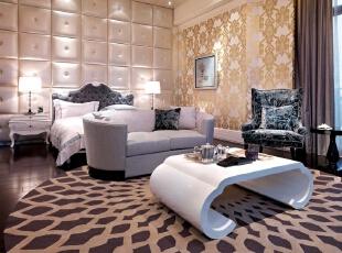 ,新古典,别墅,卧室,黄白,