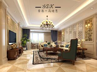 ,300平,80万,别墅,欧式,客厅,黄白,