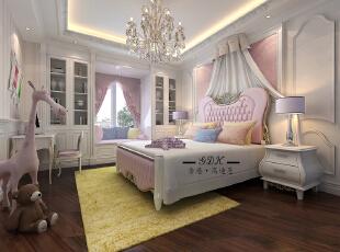 ,300平,80万,别墅,欧式,卧室,粉红色,白色,