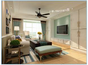 ,108平,4万,田园,三居,客厅,白色,绿色,餐厅,